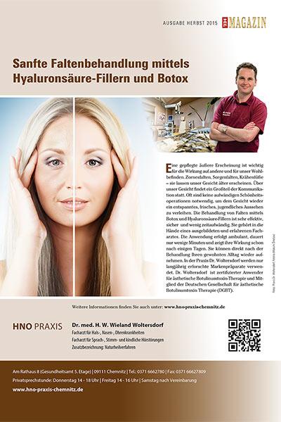 TOP-Magazin Herbst 2015: Sanfte Faltenbehandlung