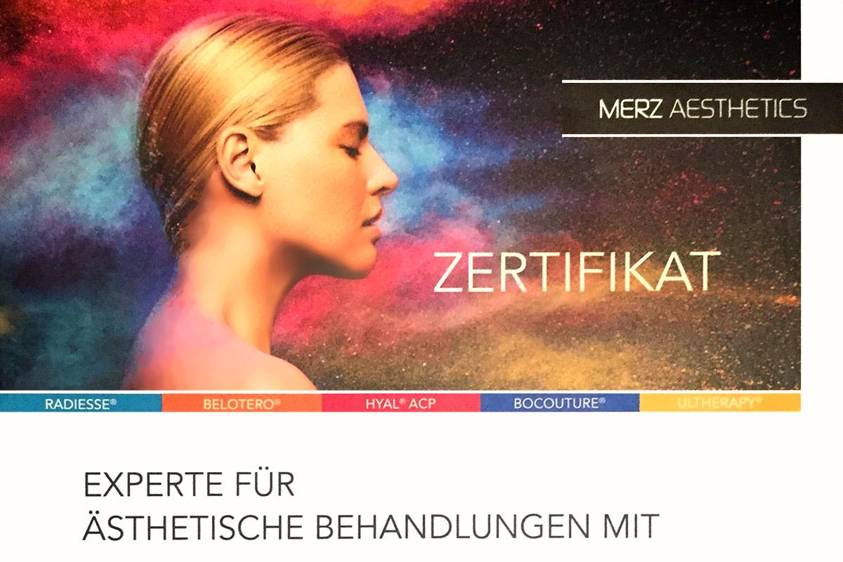 Zertifikat Merz Aesthetics: Experte für ästhetische Behandlungen mit Hyaluronsäure