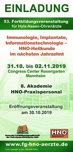 Einladung: 53. Fortbildungsveranstaltung für HNO-Ärzte . 31.10. - 02.11.2019 . Congress Center Rosengarten Mannheim