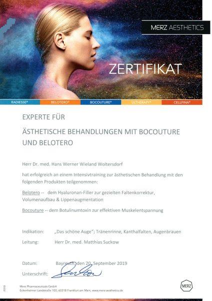 Zertifikat Experte für ästhetische Behandlungen mit Bocouture und Belotero: Dr. med. Woltersdor
