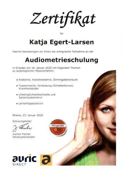 Zertifikat auric direct: Audiometrieschulung Katja Egert-Larsen (Dresden 18.01.2020)
