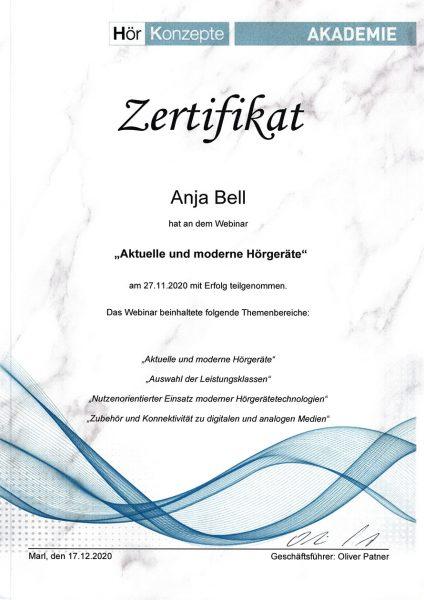"""Zertifikat Anja Bell: Webinar """"Aktuelle und moderne Hörgeräte"""" (Marl, 27.11.2020)"""