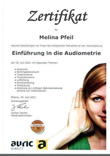 Zertifikat Einführung in die Audiometrie: Melina Pfeil (auric direct, 29.06.2021)