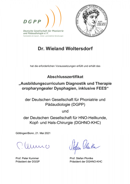 FEES-Zertifikat Dr. med. Woltersdorf (21.05.2021)