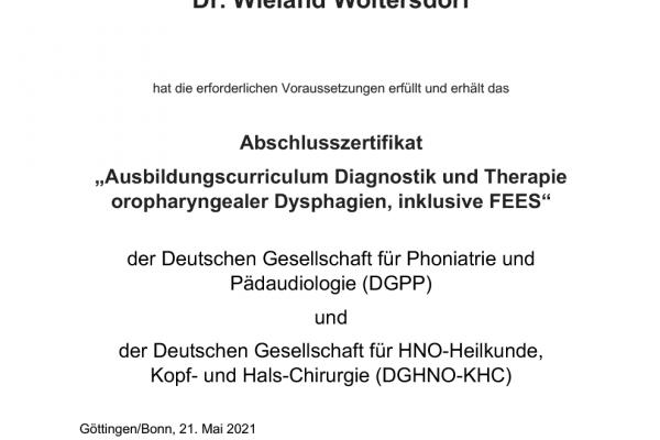"""Ausbildungscurriculum """"Diagnostik und Therapie oropharyngealer Dysphagien, inklusive FEES"""""""