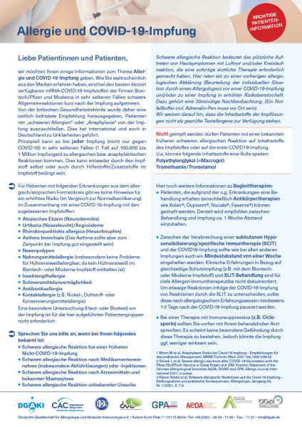 Patienteninfo: Allergie und COVID-19-Impfung (Deutsche Gesellschaft für Allergologie und klinische Immunologie e.V.)