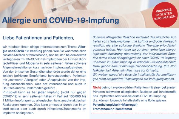 Patienteninfo: Allergie und COVID-19-Impfung