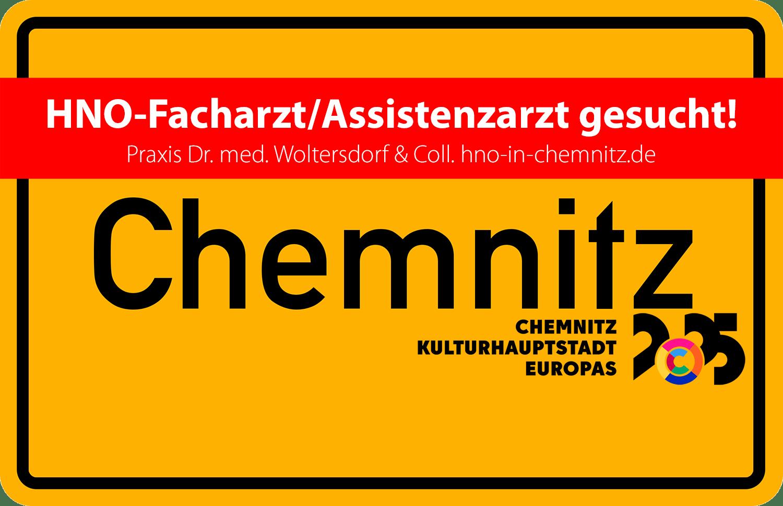 HNO-Praxis Dr. med. Woltersdorf & Coll. Chemnitz: HNO-Facharzt/Assistenzarzt gesucht (Quelle Ortsschild: onlinestreet.de CC BY 4.0)