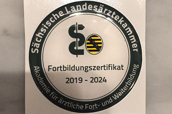 Fortbildungszertifikat der Sächsischen Landesärztekammer