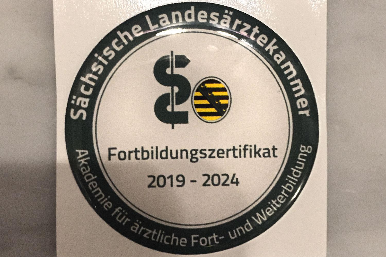 Fortbildungszertifikat 2019 - 2024 der Sächsischen Landesärztekammer